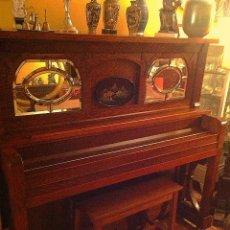 Instrumentos musicales: ANTIGUO PIANO AMERICANO NEW YORK MODERNISTA DE ROBLE CON BANQUETA. Lote 132634662