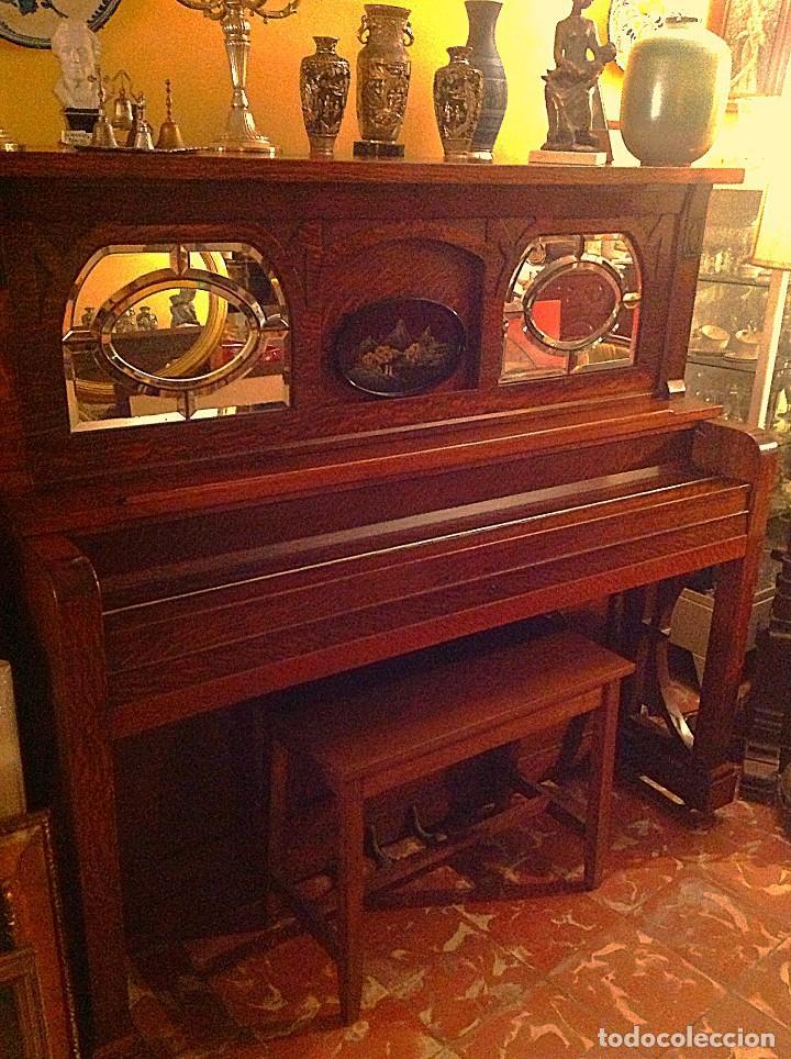 Instrumentos musicales: Antiguo Piano Americano New York Modernista De Roble Con Banqueta - Foto 2 - 132634662
