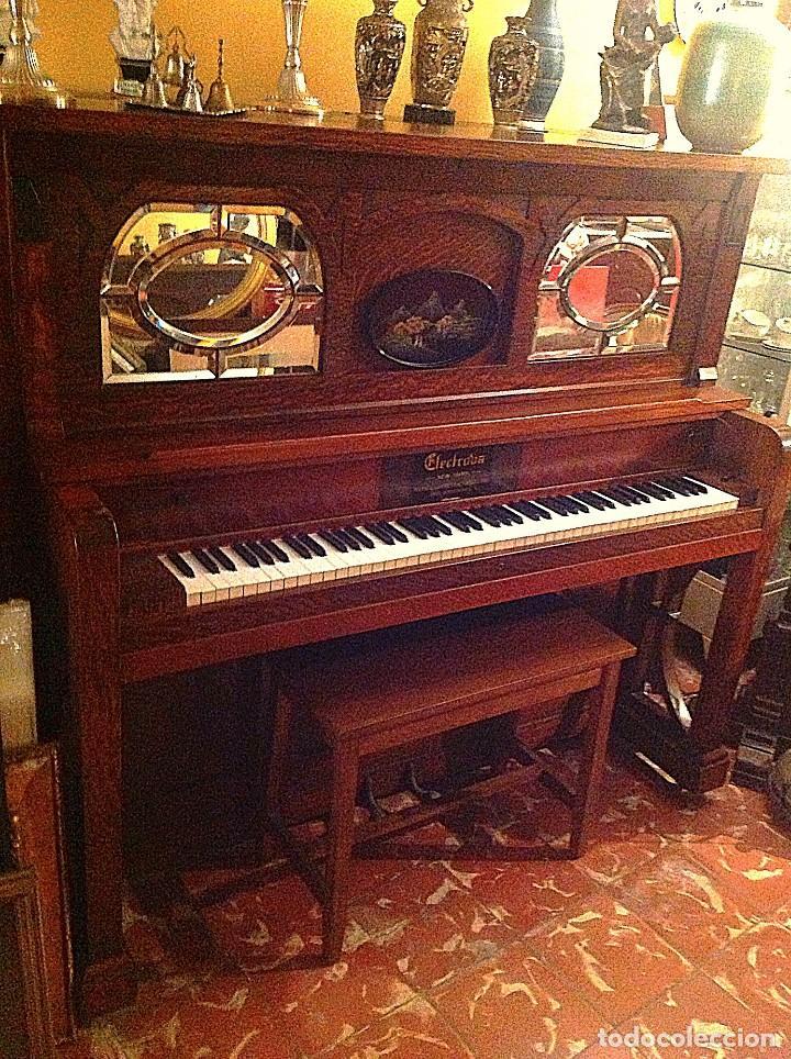 Instrumentos musicales: Antiguo Piano Americano New York Modernista De Roble Con Banqueta - Foto 3 - 132634662