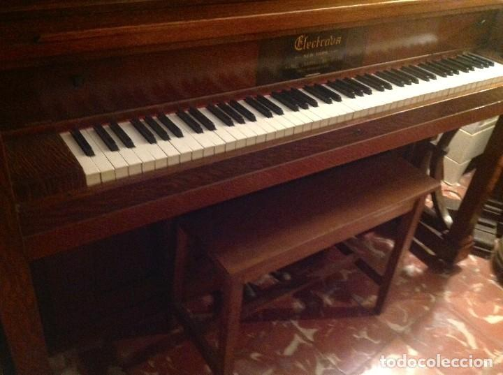 Instrumentos musicales: Antiguo Piano Americano New York Modernista De Roble Con Banqueta - Foto 5 - 132634662
