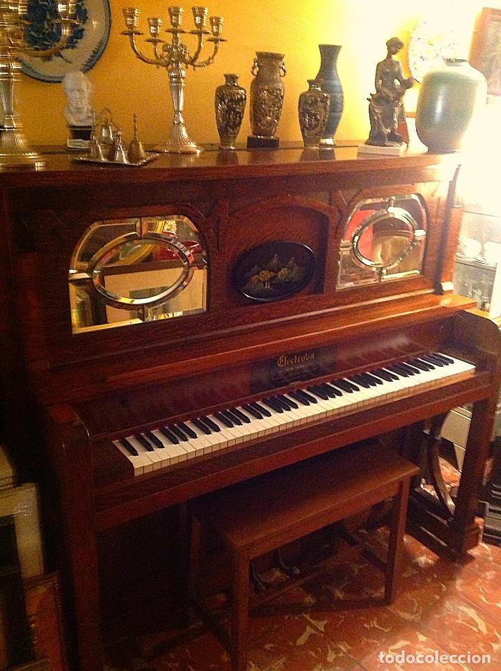 Instrumentos musicales: Antiguo Piano Americano New York Modernista De Roble Con Banqueta - Foto 6 - 132634662