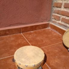 Instrumentos musicales: PANDERETA DE MADERA Y PIÉL CON PLATILLOS AÑOS 60. Lote 132828866