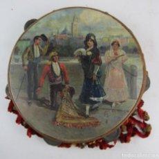 Instrumentos musicales: PANDERETA PINTADA ESCENA ANDALUZA, 1900, VISTA DE SEVILLA, FIRMADA GARCIA. 27,5CM DE DIÁMETRO. Lote 139964430