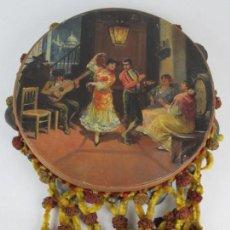 Instrumentos musicales: PANDERETA PINTADA ESCENA ANDALUZA, 1900, BAILAORES FLAMENCO, FIRMADA GARCIA. 27,5CM DE DIÁMETRO. Lote 139965354