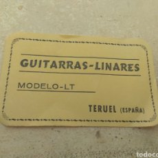 Instrumentos musicales: ETIQUETA GUITARRAS LINARES MODELO LT - TERUEL. Lote 150960229