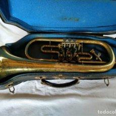 Instrumentos musicales: TROMPETA. FLISCORNO DE PISTONES ALEMÁN, MARCA WELTLANG. CON SU FUNDA-MALETÍN.. Lote 151931594