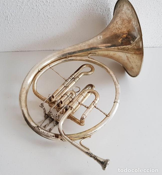 Instrumentos musicales: Trompa, Cuerno. Impresionante instrumento de viento. Años 60. Estuche original. - Foto 2 - 153992538