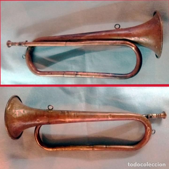 ANTIGUA CORNETA-TROMPETA MILITAR EN LATON. FUNCIONANDO 45 CM. (Música - Instrumentos Musicales - Viento Metal)