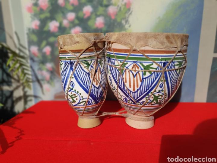 TAMBOR, BONGOS DE BARRO ESMALTADO (Música - Instrumentos Musicales - Percusión)