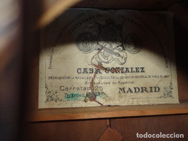 Instrumentos musicales: Bandurria Casa Gonzalez, calle carretas, 25 Madrid, desde 1868, con su funda - Para Restaurar- - Foto 14 - 163967438