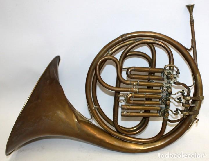 IMPORTANTE TROMPA EN LATON DE LA PRESTIGIOSA MANUFACTURA ALEMANA ED.KRUSPE (Música - Instrumentos Musicales - Viento Metal)