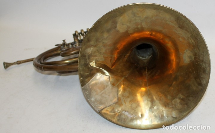 Instrumentos musicales: IMPORTANTE TROMPA EN LATON DE LA PRESTIGIOSA MANUFACTURA ALEMANA ED.KRUSPE - Foto 3 - 172605908