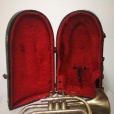 Instrumentos musicales: ANTIGUA CORNETA MAISON CON ESTUCHE ORIGINAL DE MADERA . Lote 173169090