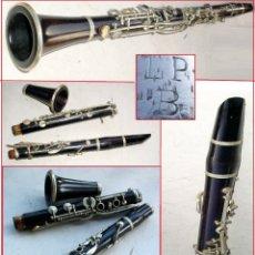 Instrumentos musicales: HERMOSO CLARINETE FRANCES ANTIGUO EN MADERA DE ÉBANO MARCADO (LP B PARIS) 67 CM.. Lote 174249405