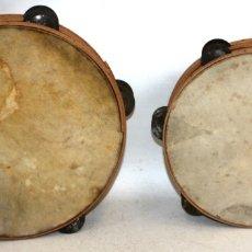 Instrumentos musicales: CONJUNTO DE DOS PANDERETAS REALIZADAS EN CABRITILLA Y MADERA. Lote 174368490