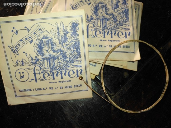 ANTIGUA CUERDA DE GUITARRA O LAUD 4.ª RE N.º 93 ACERO SUECO MARCA REGISTRADA FERRER (Música - Instrumentos Musicales - Cuerda Antiguos)
