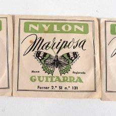 Instrumentos musicales: 3 ANTIGUAS CUERDAS DE GUITARRA DE NYLON MARIPOSA. MI, SI Y SOL. Lote 178363417