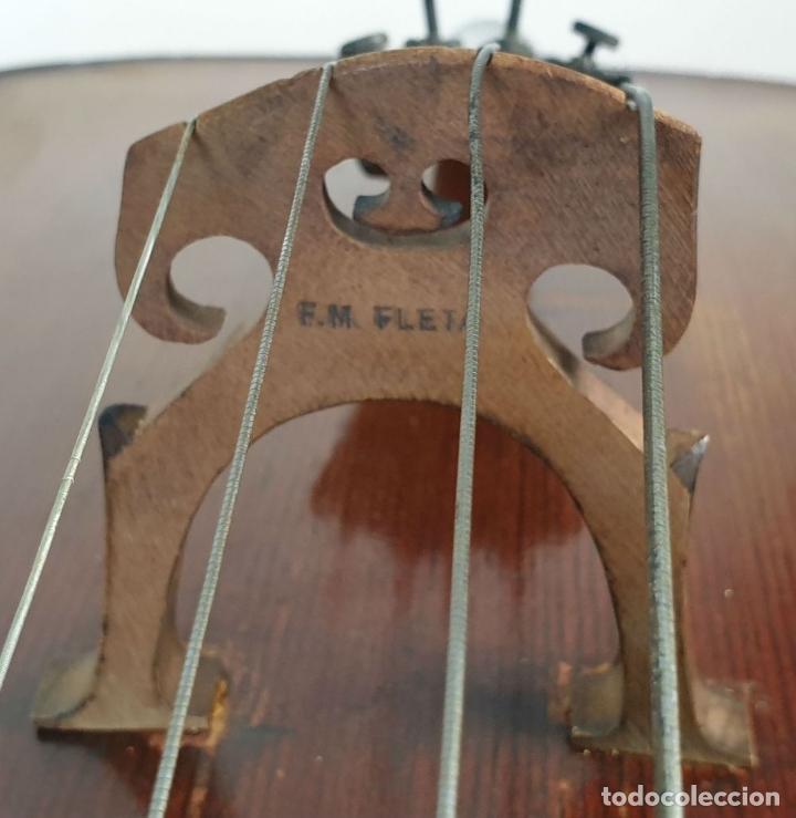 Instrumentos musicales: VIOLONCHELO. FIRMADO EN EL PUENTE. FM. FLETA. MEDIDA 3/4. CIRCA 1920. - Foto 22 - 178580287
