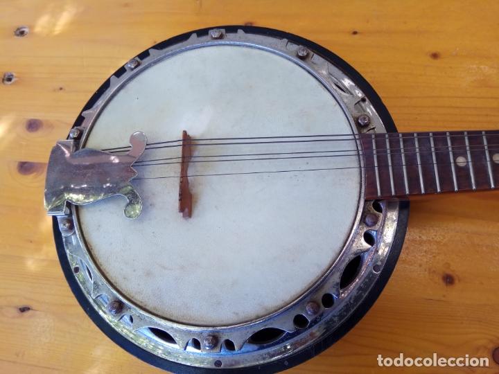 Instrumentos musicales: ANTIGUO BANJO-MANDOLINE VINCENT JACOBACCI FRANCIA 8 CUERDAS - Foto 3 - 178598850