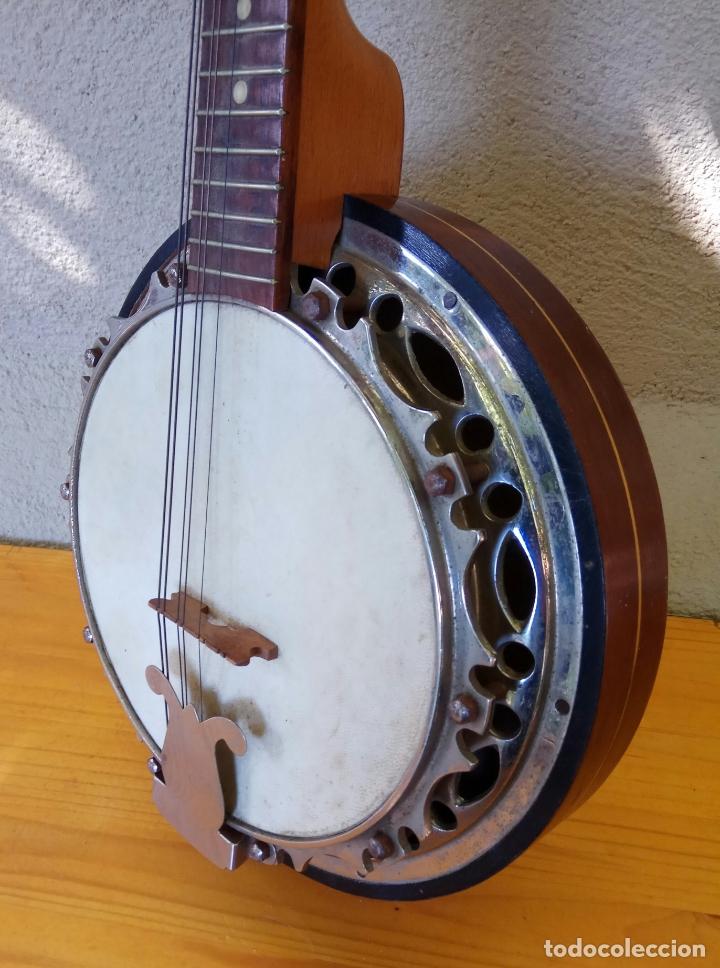 Instrumentos musicales: ANTIGUO BANJO-MANDOLINE VINCENT JACOBACCI FRANCIA 8 CUERDAS - Foto 4 - 178598850
