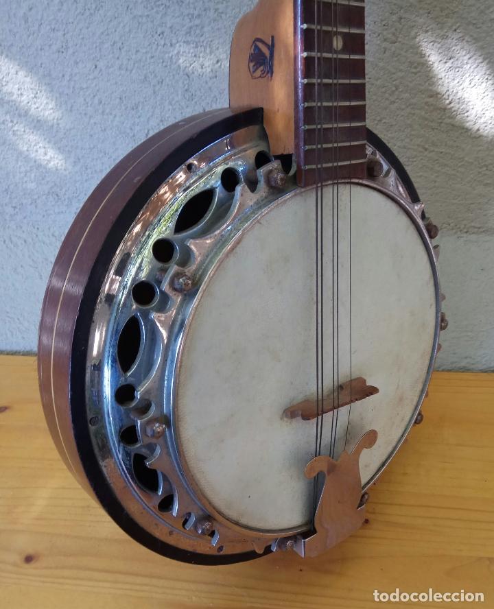 Instrumentos musicales: ANTIGUO BANJO-MANDOLINE VINCENT JACOBACCI FRANCIA 8 CUERDAS - Foto 7 - 178598850