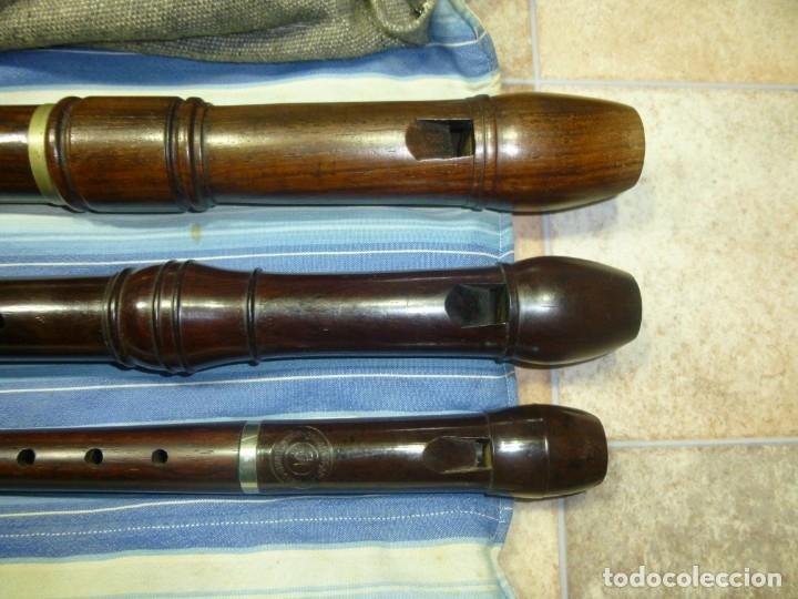 1-LOTE 3 FLAUTAS DE PALISANDRO TENOR,ALTO Y SOPRANO (Música - Instrumentos Musicales - Viento Madera)