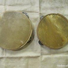 Instrumentos musicales: 2 PANDERETAS ANTIGUAS EN MADERA Y PIEL . Lote 180410031
