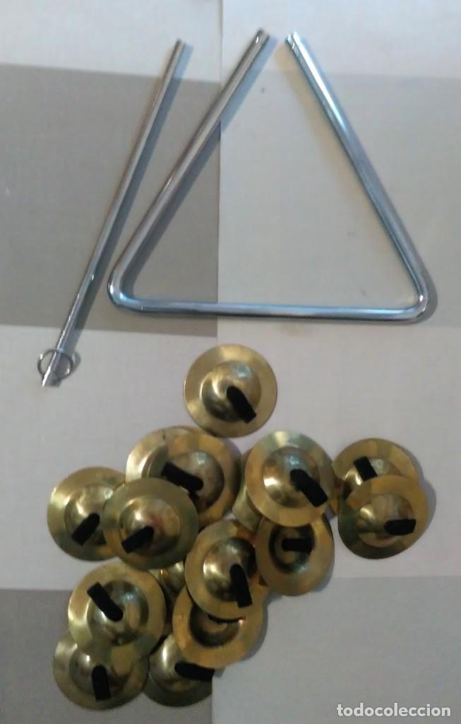 Instrumentos musicales: Lote tambor con baquetas 18 platillos tibetanos y triangulo honsuy made spain - Foto 4 - 183401350