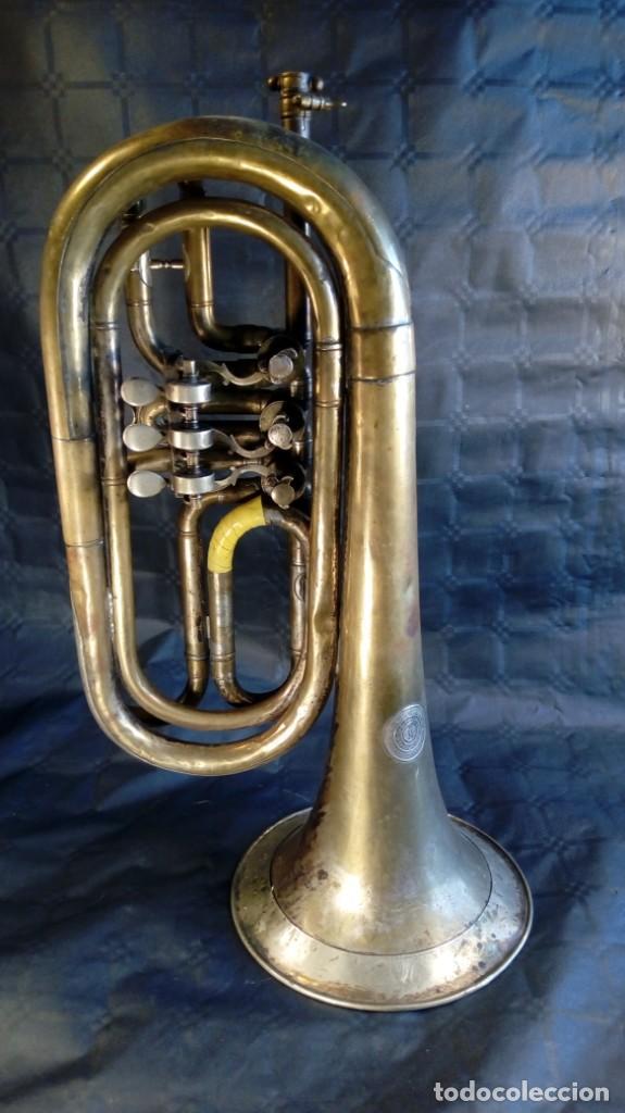 Instrumentos musicales: TROMPETA CARL AUGUST SCHUSTER.MARKNEUKIRCHEN. MANUFACTURA DE 1830 – 1864. ALEMANIA. - Foto 2 - 189402333
