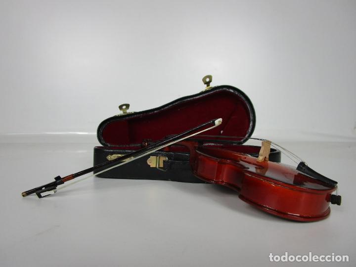 Instrumentos musicales: Violonchelo Miniatura - Instrumento de Cuerda - Madera - con Estuche - Violonchelo - 16 cm Altura - Foto 3 - 189605253