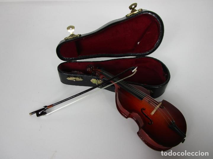 VIOLONCHELO MINIATURA - INSTRUMENTO DE CUERDA - MADERA - CON ESTUCHE - VIOLONCHELO - 16 CM ALTURA (Música - Instrumentos Musicales - Cuerda Antiguos)