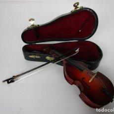 Instrumentos musicales: VIOLONCHELO MINIATURA - INSTRUMENTO DE CUERDA - MADERA - CON ESTUCHE - VIOLONCHELO - 16 CM ALTURA. Lote 189605253
