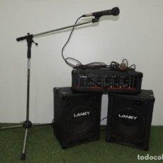 Instrumentos musicales: AMPLIFICADOR LANEY THEATRE 120 × 4 , ALTAVOCES Y MICRÓFONO CON SOPORTE. Lote 190181702