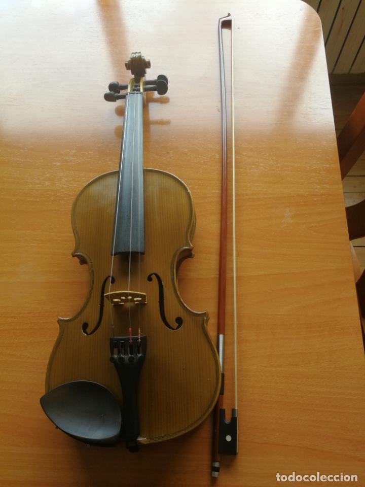 ANTIGUO VIOLÍN TAMAÑO 3/4 (56 CM.) MARCA NOVA ESTUDY CON SU ARCO. (Música - Instrumentos Musicales - Cuerda Antiguos)