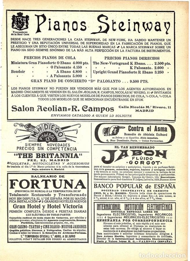 1911 HOJA REVISTA PUBLICIDAD ANUNCIO RECORTE DE PRENSA PIANOS STEINWAY (Música - Instrumentos Musicales - Pianos Antiguos)