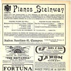 Instrumentos musicales: 1911 HOJA REVISTA PUBLICIDAD ANUNCIO RECORTE DE PRENSA PIANOS STEINWAY. Lote 193557830