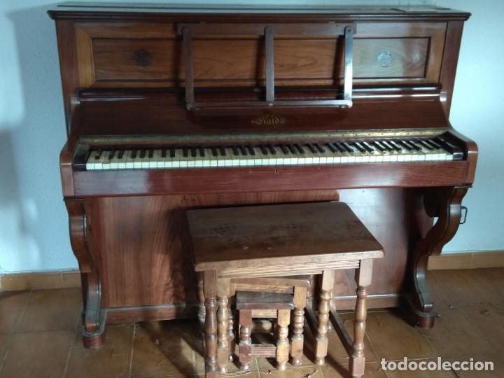 Instrumentos musicales: PIANO ANTIGUO DE ESTUDIO VERTICAL, COLOR NOGAL, MARCA ERARD. - Foto 36 - 194220297