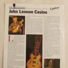 Instrumentos musicales: HOJA DE LA REVISTA EN CONCIERTO BEATLES JOHN LENNON EPIPHONE CASINO. Lote 194657731