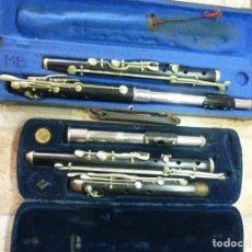Instrumentos musicales: 2 ANTIGUAS TRAVESERAS DE ÉBANO.. Lote 195486403