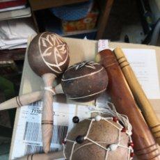 Instrumentos musicales: 3 PIEZAS (CLAVE CUBANA O SON DE CUBA. INSTRUMENTO DE PERCUSION +MARACAS Y MARACON) . Lote 195534182