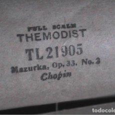 Instrumentos musicales: ROLLO PARA PIANOLA THE MODIST 1901. MAZURKA,OP.33 Nº 2. CHOPIN.. Lote 195665975