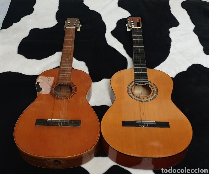 LOTE DE 2 ANTIGUAS GUITARRAS ESPAÑOLAS PARA REPARAR O RESTAURAR (Música - Instrumentos Musicales - Guitarras Antiguas)