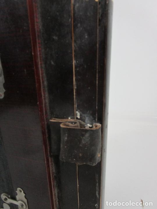 Instrumentos musicales: Antiguo Acordeón Diatónico - Taracea de Madera - Teclas en Nácar - Funcionando - Finales S. XIX - Foto 15 - 199949032