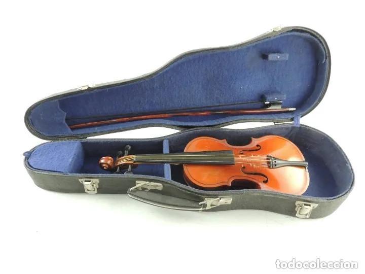 ANTIGUO VIOLÍN CON ARCO Y ESTUCHE ORIGINAL VINTAGE (Música - Instrumentos Musicales - Cuerda Antiguos)