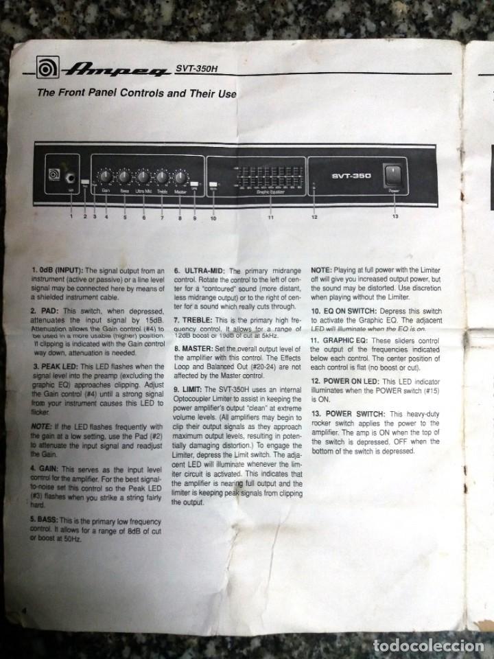 Instrumentos musicales: BASS AMPLIFIER AMPLIFICADOR DE BAJO AMPEG SVT-350H COMPLETO (CABEZAL + CAJA ACUSTICA + FUNDAS) - Foto 23 - 210415362