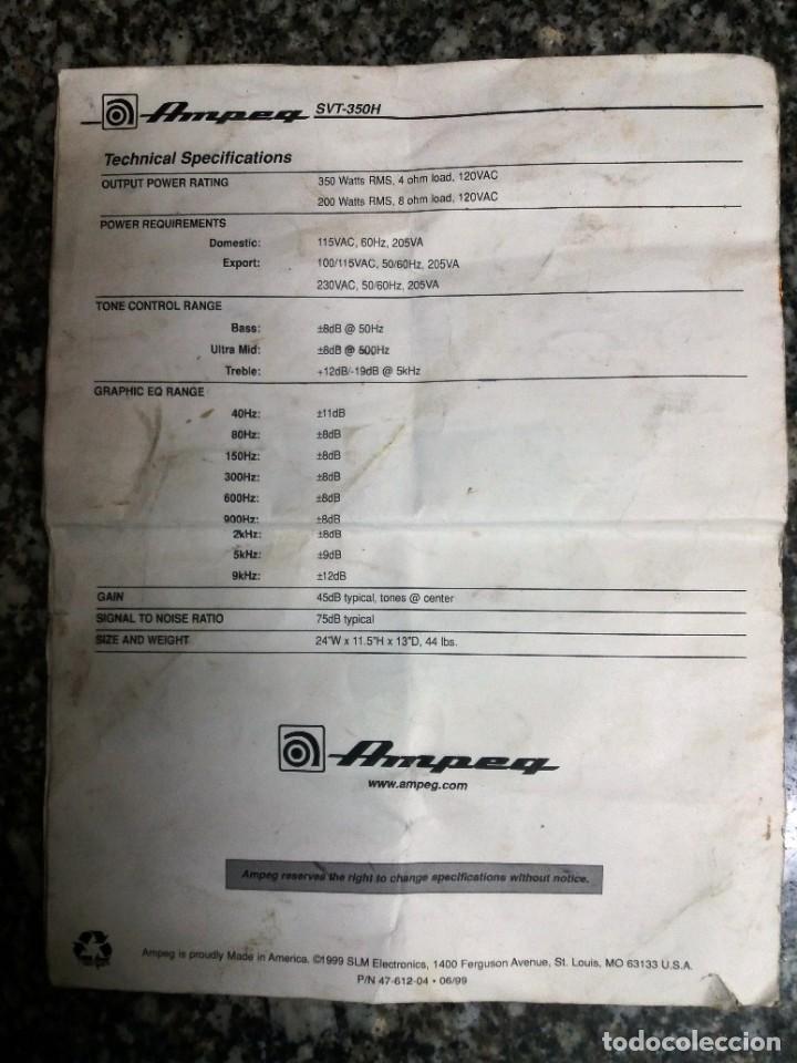 Instrumentos musicales: BASS AMPLIFIER AMPLIFICADOR DE BAJO AMPEG SVT-350H COMPLETO (CABEZAL + CAJA ACUSTICA + FUNDAS) - Foto 27 - 210415362