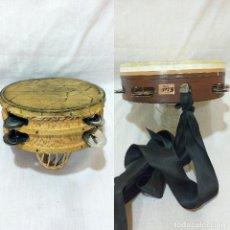 Instrumentos musicales: LOTE DE 2 PANDERETAS DE MADERA Y PIEL EXCELENTE SONIDO EN BUEN ESTADO. Lote 210946685