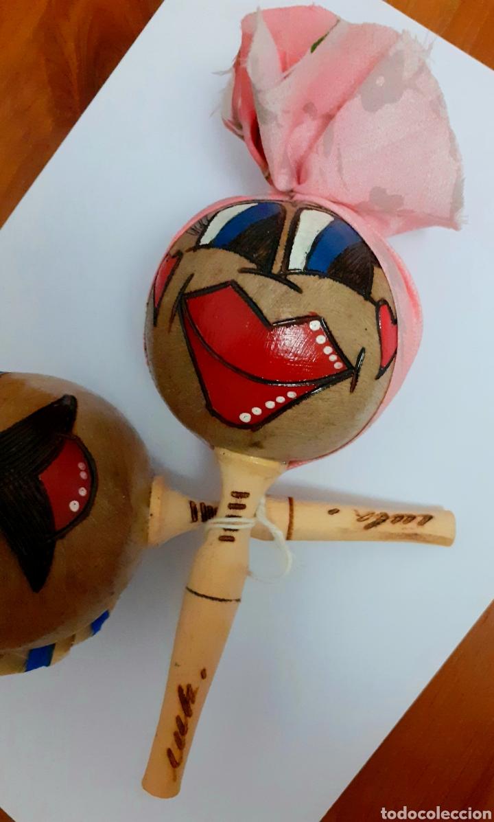 Instrumentos musicales: Originales Maracas de Cuba pintadas y hechas a mano como muñecos con sombreros cubanos, Vintage. - Foto 2 - 211594946