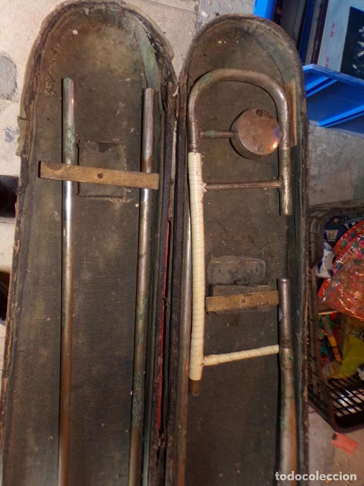 Instrumentos musicales: antiguo trombon de varas marcado lerida - Foto 3 - 214332958