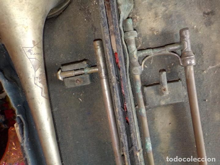 Instrumentos musicales: antiguo trombon de varas marcado lerida - Foto 6 - 214332958